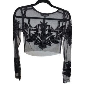 For Love & Lemons Vienna Crop Top Black